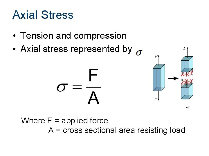 Axial Stress • Tension and compression • Axial stress represented by Where F =