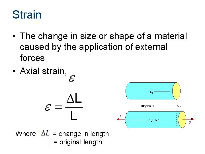 Strain • The change in size or shape of a material caused by the