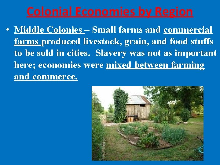 Colonial Economies by Region • Middle Colonies – Small farms and commercial farms produced