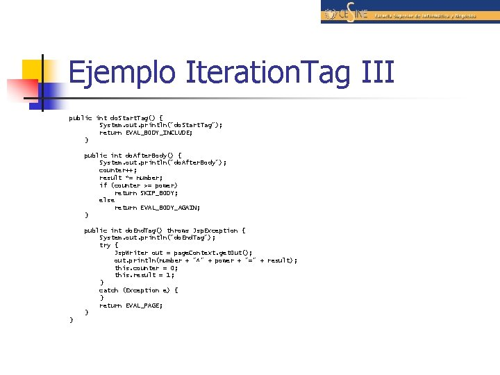 """Ejemplo Iteration. Tag III public int do. Start. Tag() { System. out. println(""""do. Start."""