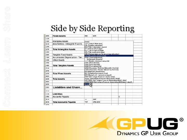 Connect Learn Share Side by Side Reporting