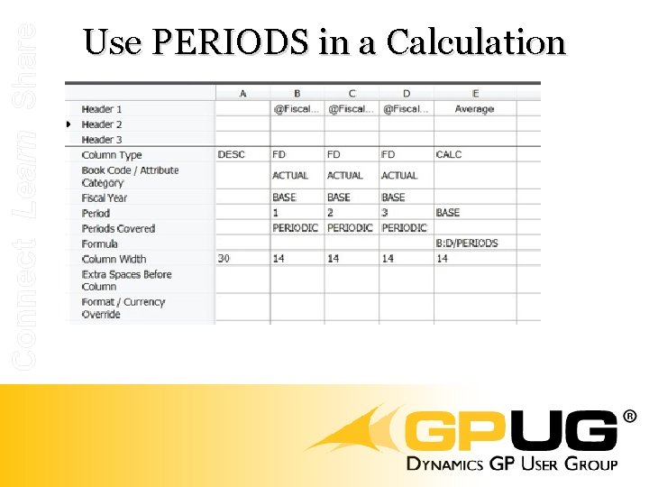Connect Learn Share Use PERIODS in a Calculation