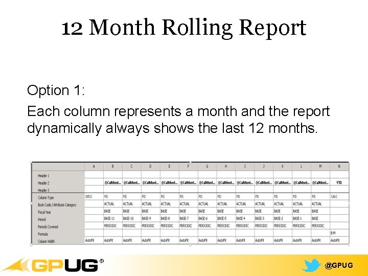 12 Month Rolling Report Option 1: Each column represents a month and the report