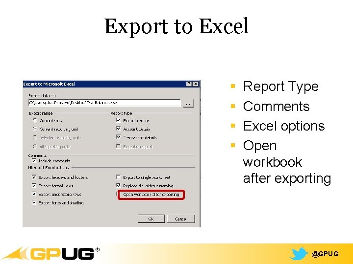 Export to Excel § § Report Type Comments Excel options Open workbook after exporting