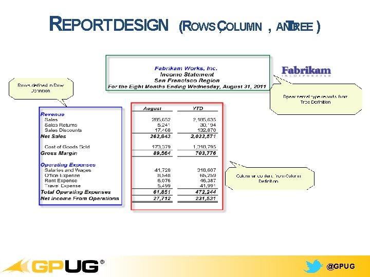 REPORTDESIGN (ROWS C , OLUMN , AND TREE ) @GPUG