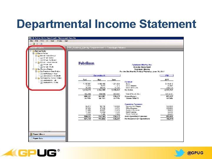 Departmental Income Statement @GPUG