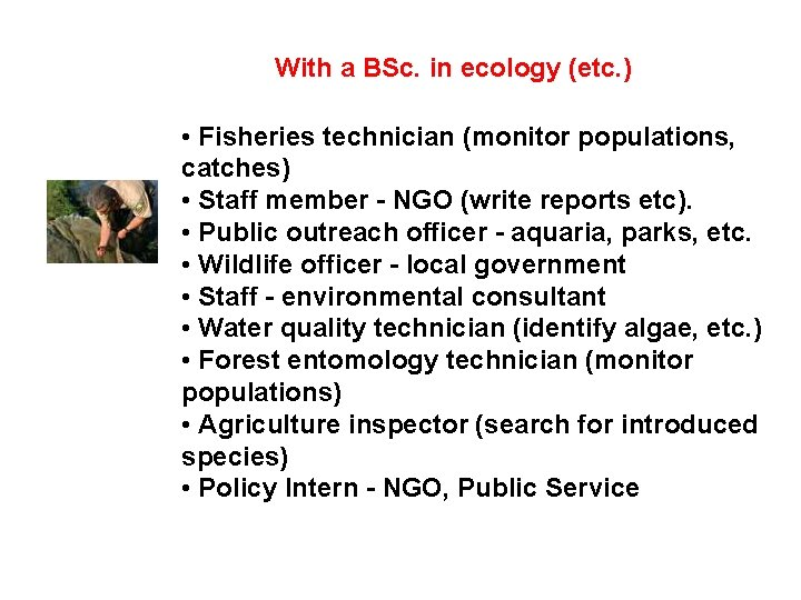 With a BSc. in ecology (etc. ) • Fisheries technician (monitor populations, catches) •