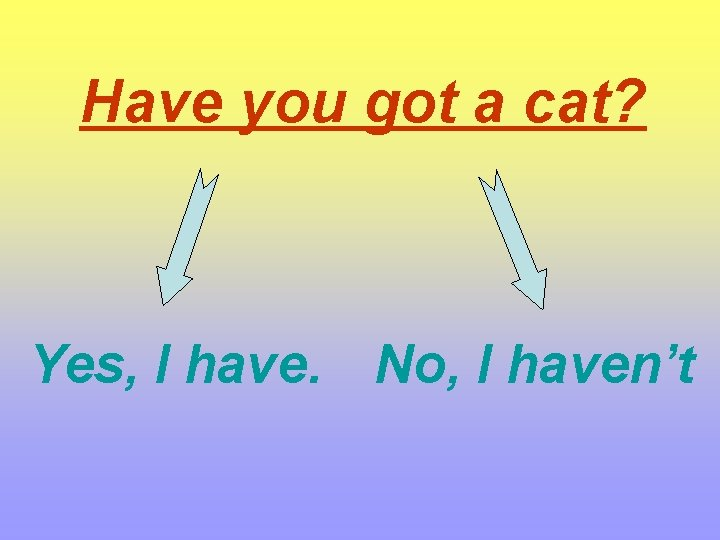 Have you got a cat? Yes, I have. No, I haven't