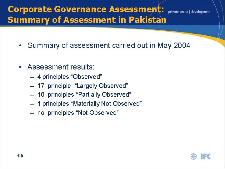 Corporate Governance Assessment: Summary of Assessment in Pakistan • Summary of assessment carried out
