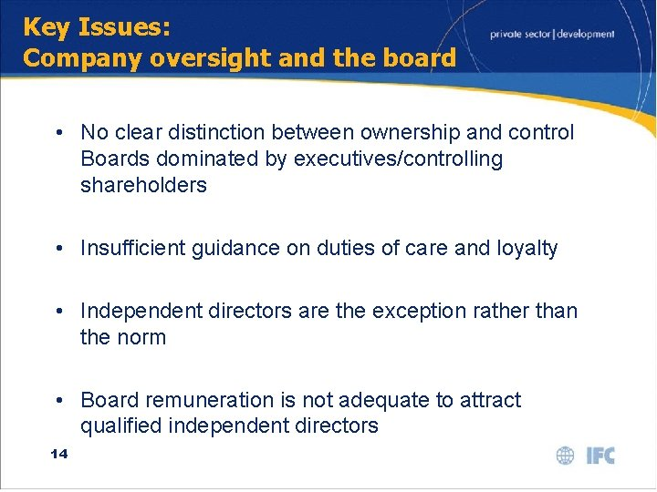 Key Issues: Company oversight and the board • No clear distinction between ownership and