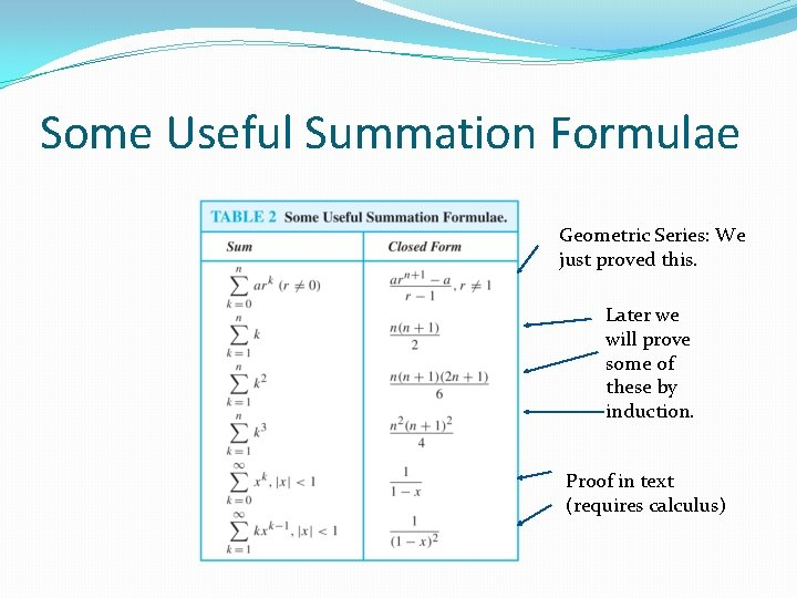 Some Useful Summation Formulae Geometric Series: We just proved this. Later we will prove