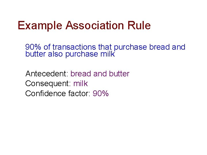 Example Association Rule 90% of transactions that purchase bread and butter also purchase milk