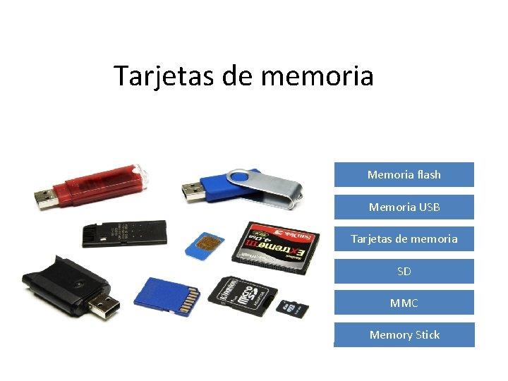 Tarjetas de memoria Memoria flash Memoria USB Tarjetas de memoria SD MMC Memory Stick