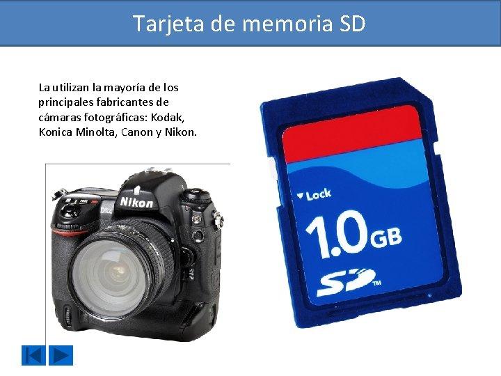 Tarjeta de memoria SD La utilizan la mayoría de los principales fabricantes de cámaras