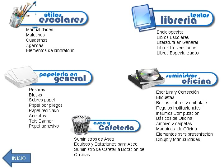 Manualidades Maletines Cuadernos Agendas Elementos de laboratorio Enciclopedias Libros Escolares Literatura en General Libros