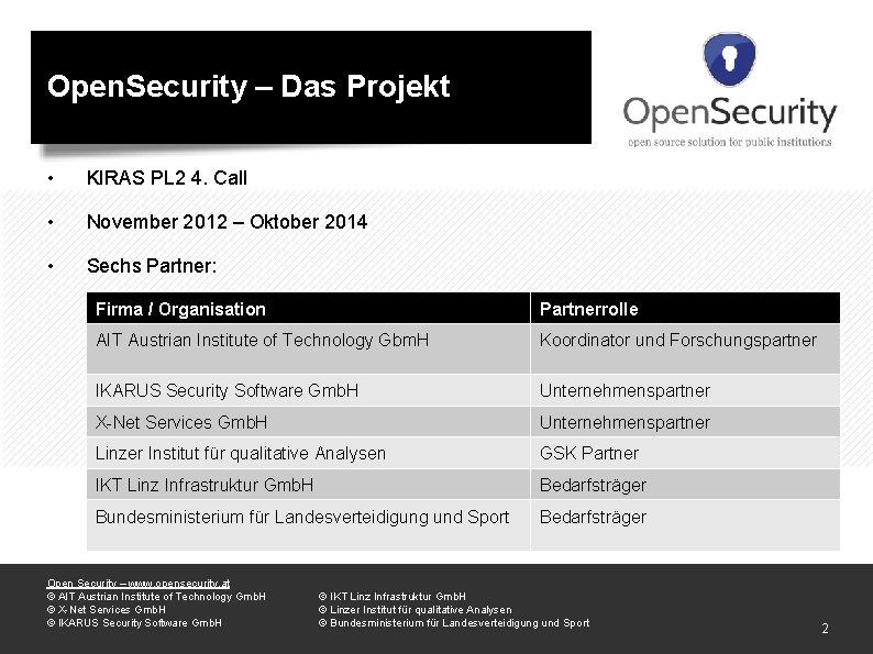 Open. Security – Das Projekt • KIRAS PL 2 4. Call • November 2012