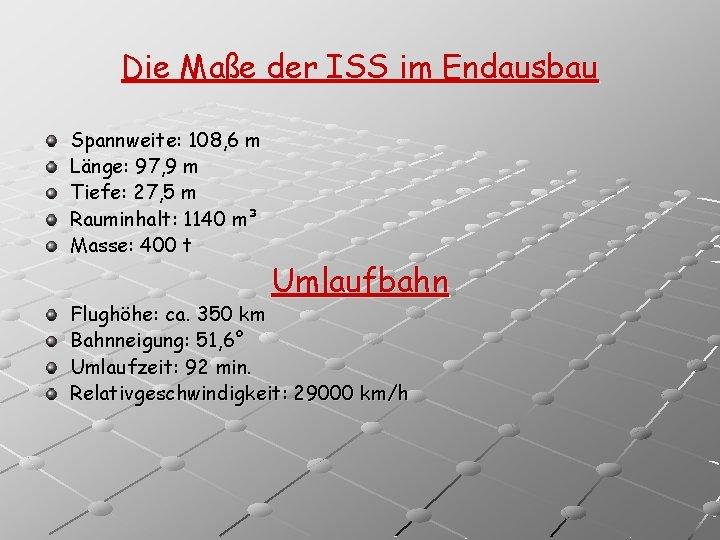 Die Maße der ISS im Endausbau Spannweite: 108, 6 m Länge: 97, 9 m