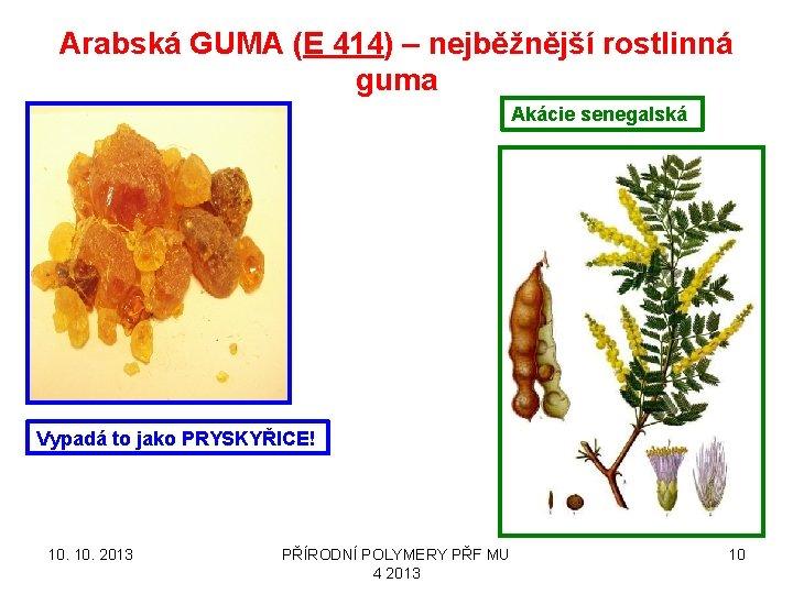 Arabská GUMA (E 414) – nejběžnější rostlinná guma Akácie senegalská Vypadá to jako PRYSKYŘICE!