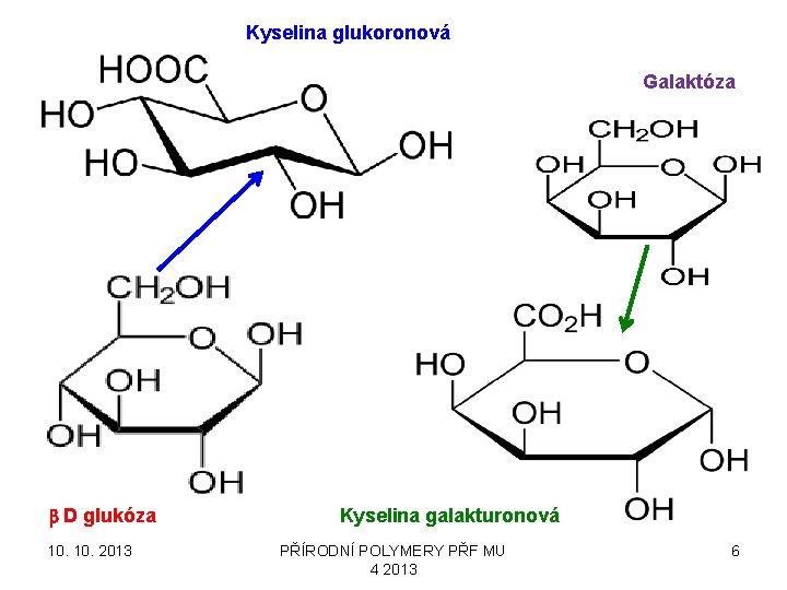 Kyselina glukoronová Galaktóza b D glukóza 10. 2013 Kyselina galakturonová PŘÍRODNÍ POLYMERY PŘF MU