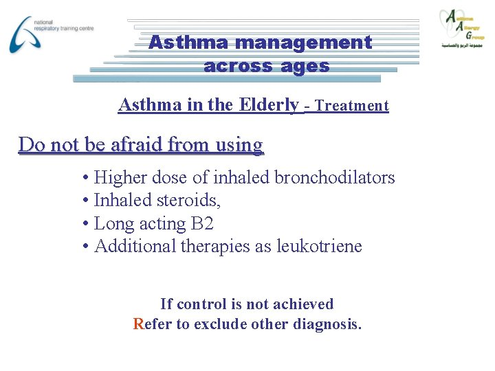 Asthma management across ages Asthma in the Elderly - Treatment Do not be afraid