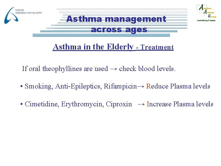 Asthma management across ages Asthma in the Elderly - Treatment If oral theophyllines are
