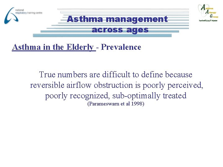 Asthma management across ages Asthma in the Elderly - Prevalence True numbers are difficult