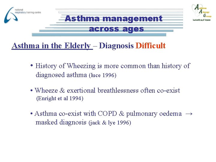 Asthma management across ages Asthma in the Elderly – Diagnosis Difficult • History of