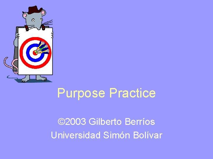 Purpose Practice © 2003 Gilberto Berríos Universidad Simón Bolívar