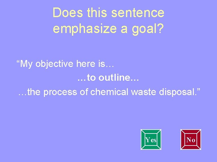 """Does this sentence emphasize a goal? """"My objective here is… …to outline… …the process"""