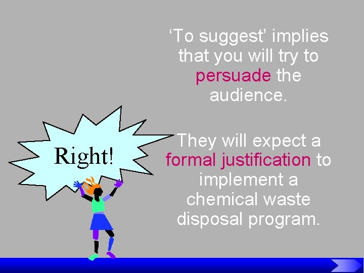 'To suggest' implies that you will try to persuade the audience. Right! They will