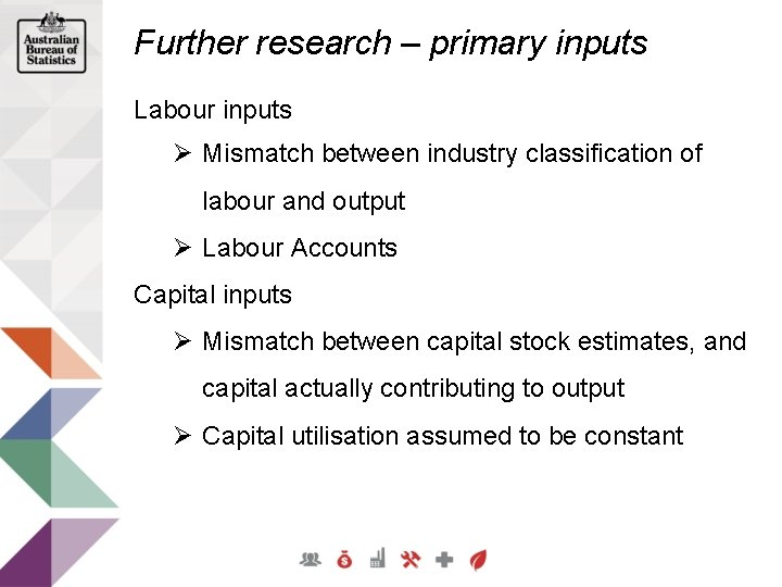 Further research – primary inputs Labour inputs Ø Mismatch between industry classification of labour