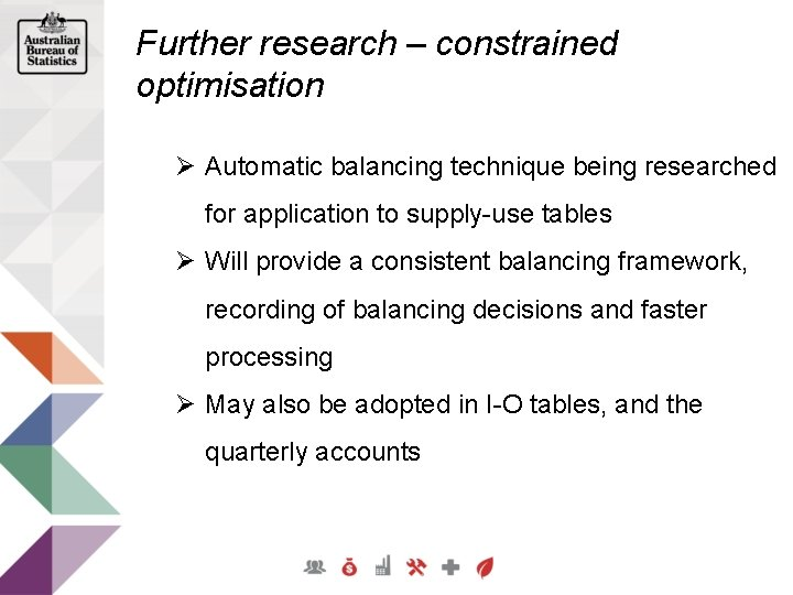 Further research – constrained optimisation Ø Automatic balancing technique being researched for application to