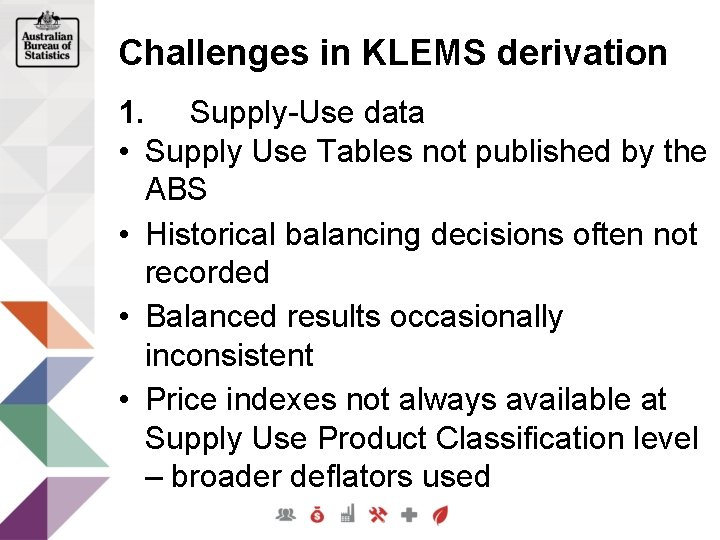 Challenges in KLEMS derivation 1. Supply-Use data • Supply Use Tables not published by