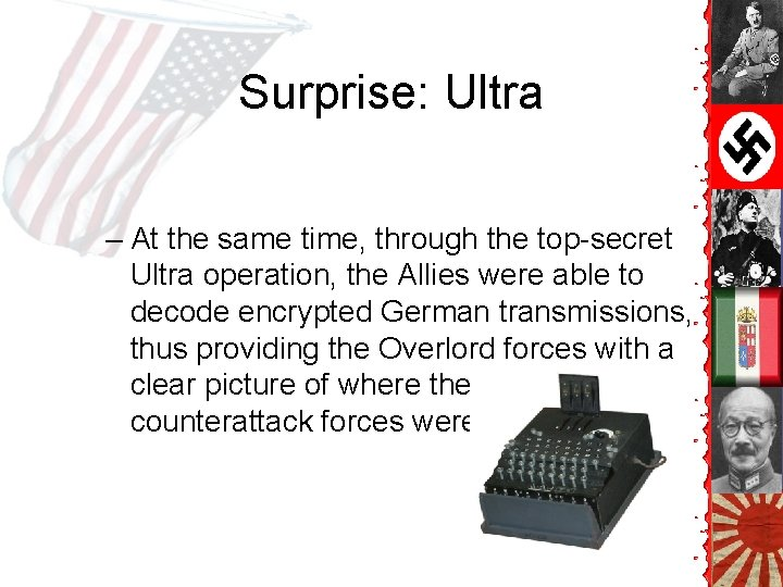 Surprise: Ultra – At the same time, through the top-secret Ultra operation, the Allies