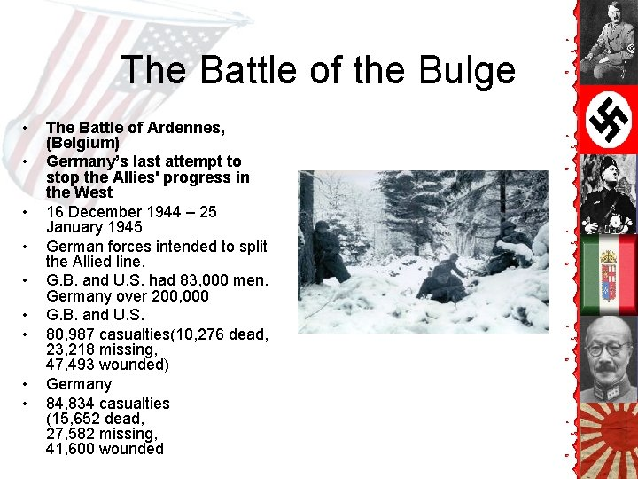 The Battle of the Bulge • • • The Battle of Ardennes, (Belgium) Germany's