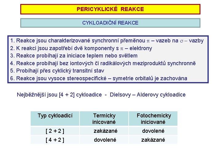 PERICYKLICKÉ REAKCE CYKLOADIČNÍ REAKCE 1. Reakce jsou charakterizované synchronní přeměnou p – vazeb na