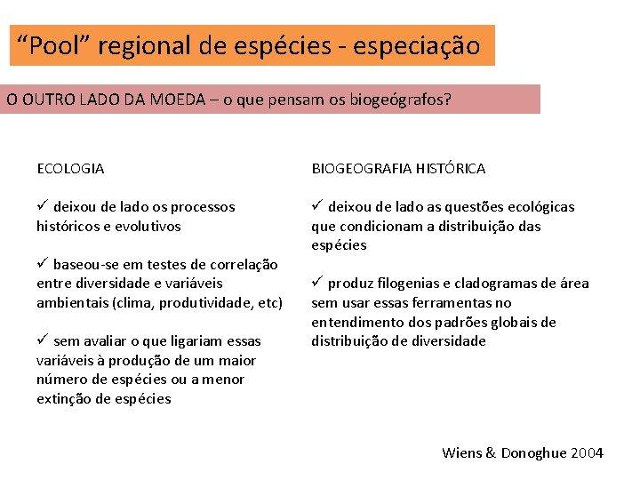 """""""Pool"""" regional de espécies - especiação O OUTRO LADO DA MOEDA – o que"""