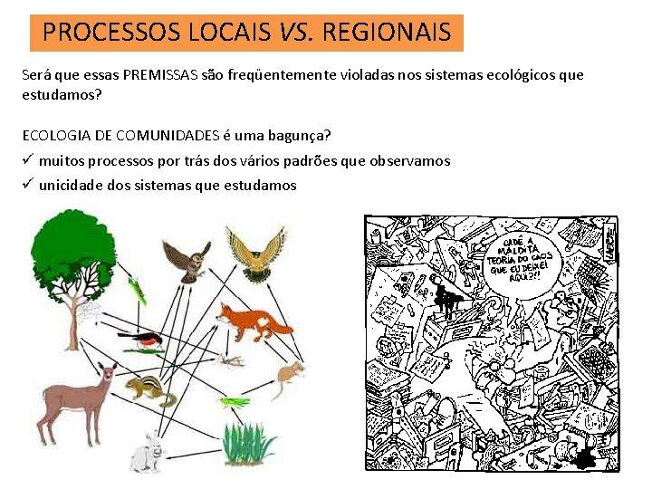 PROCESSOS LOCAIS VS. REGIONAIS Será que essas PREMISSAS são freqüentemente violadas nos sistemas ecológicos