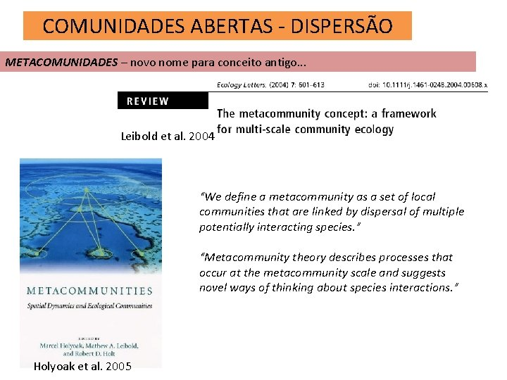 COMUNIDADES ABERTAS - DISPERSÃO METACOMUNIDADES – novo nome para conceito antigo. . . Leibold