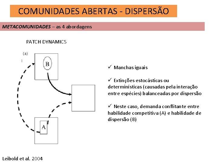 COMUNIDADES ABERTAS - DISPERSÃO METACOMUNIDADES – as 4 abordagens PATCH DYNAMICS ü Manchas iguais