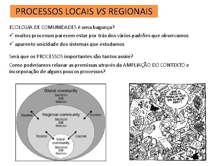 PROCESSOS LOCAIS VS REGIONAIS ECOLOGIA DE COMUNIDADES é uma bagunça? ü muitos processos parecem