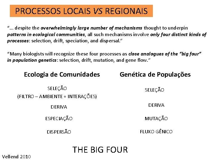 "PROCESSOS LOCAIS VS REGIONAIS "". . . despite the overwhelmingly large number of mechanisms"