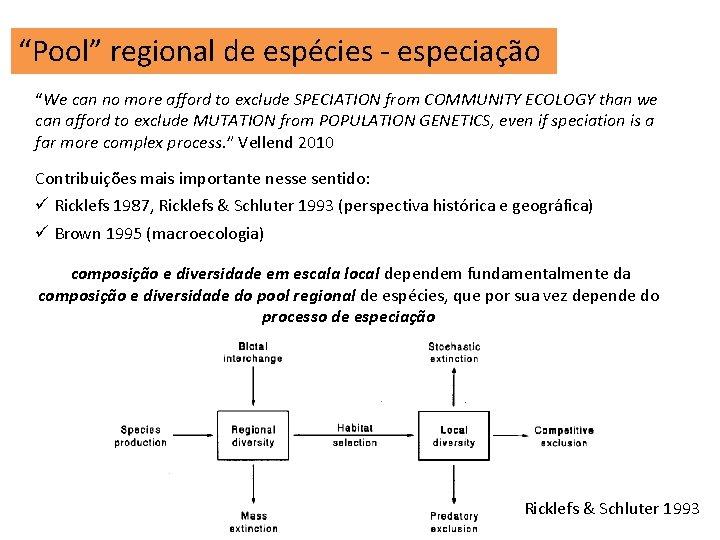 """""""Pool"""" regional de espécies - especiação """"We can no more afford to exclude SPECIATION"""
