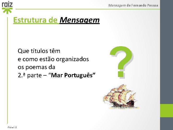Mensagem de Fernando Pessoa Estrutura de Mensagem Que títulos têm e como estão organizados