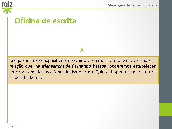 Mensagem de Fernando Pessoa Oficina de escrita A Redija um texto expositivo de oitenta