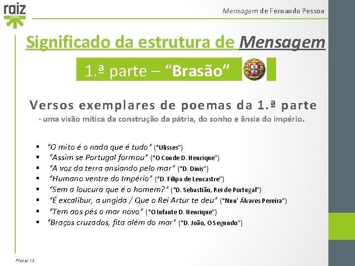 """Mensagem de Fernando Pessoa Significado da estrutura de Mensagem 1. ª parte – """"Brasão"""""""