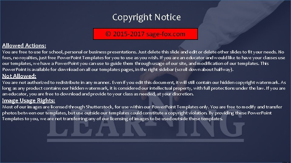 Copyright Notice © 2015 -2017 sage-fox. com Allowed Actions: You are free to use