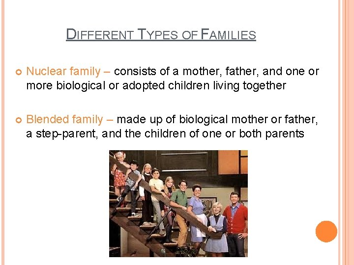 DIFFERENT TYPES OF FAMILIES Nuclear family – consists of a mother, father, and one