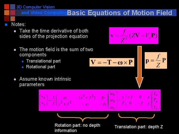 3 D Computer Vision and Video Computing. Basic n Equations of Motion Field Notes: