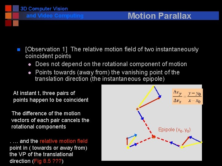 3 D Computer Vision and Video Computing n Motion Parallax [Observation 1] The relative